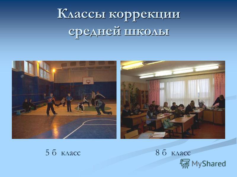 Классы коррекции средней школы 5 б класс 8 б класс