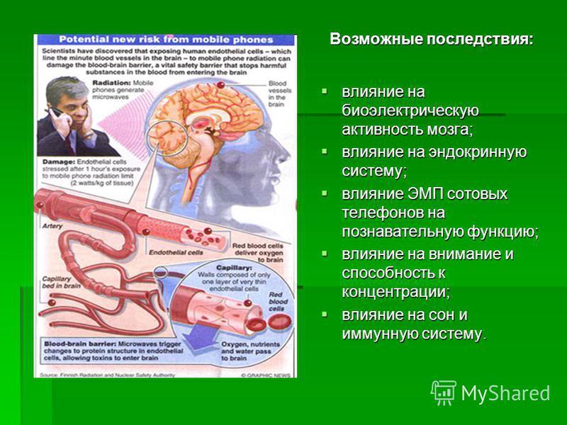 влияние на биоэлектрическую активность мозга; влияние на биоэлектрическую активность мозга; влияние на эндокринную систему; влияние на эндокринную систему; влияние ЭМП сотовых телефонов на познавательную функцию; влияние ЭМП сотовых телефонов на позн