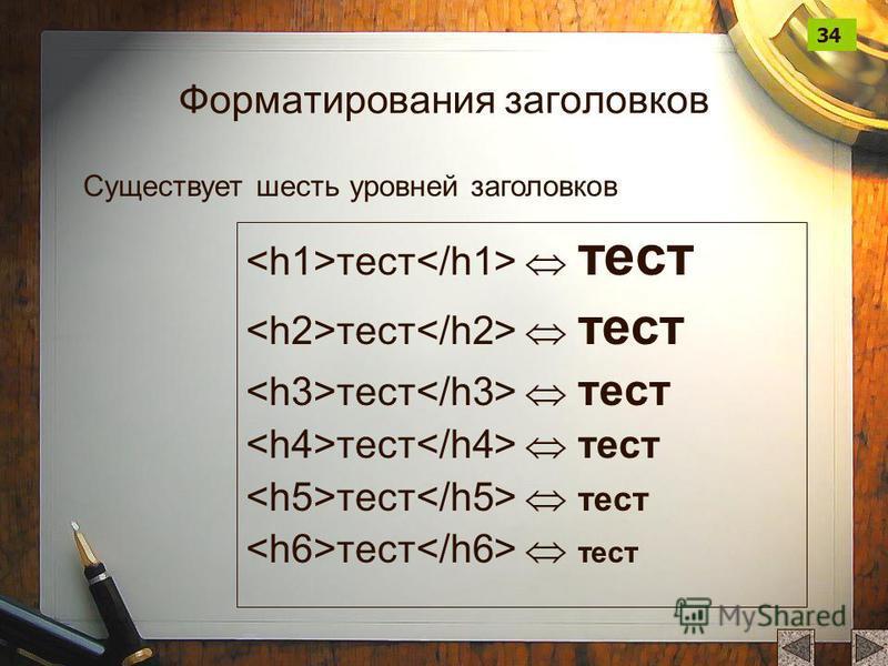 Форматирования заголовков тест тест Существует шесть уровней заголовков 34