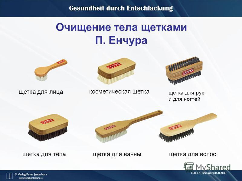 GdE RU Seminar 04/2009 30 Очищение тела щетками П. Енчура щетка для рук и для ногтей косметическая щетка щетка для тела щетка для ванны щетка для волос щетка для лица