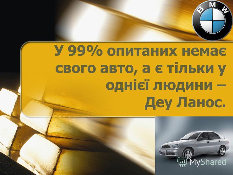 У 99% опитаних немає свого авто, а є тільки у однієї людини – Деу Ланос.