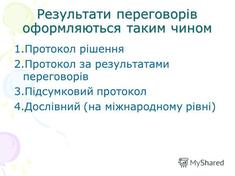 Результати переговорів оформляються таким чином 1.Протокол рішення 2.Протокол за результатами переговорів 3.Підсумковий протокол 4.Дослівний (на міжнародному рівні)