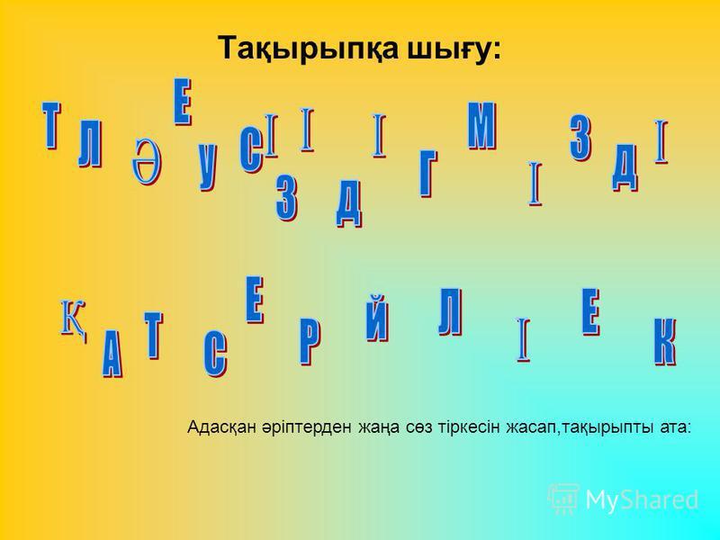 Тақырыпқа шығу: Адасқан әріптерден жаңа сөз тіркесін жасап,тақырыпты ата: