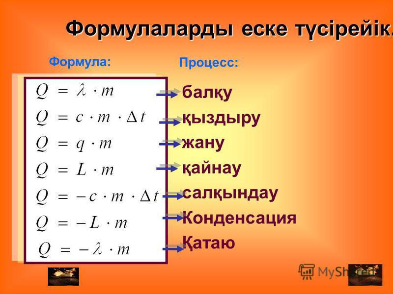 Формула: Процесс: балқу қыздыру жану қайнау салқындау Конденсация Қатаю Формулаларды ейске түсірейік.
