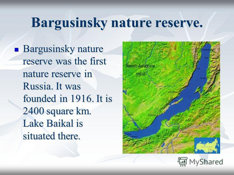 Bargusinsky nature reserve. Bargusinsky nature reserve was the first nature reserve in Russia. It was founded in 1916. It is 2400 square km. Lake Baikal is situated there. Bargusinsky nature reserve was the first nature reserve in Russia. It was foun