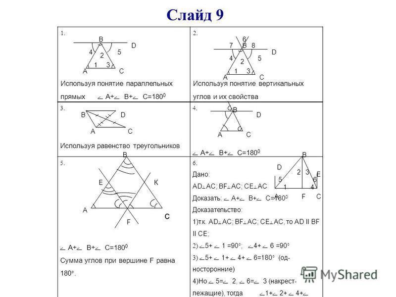 Слайд 9 1. Используя понятие параллельных прямых А+ В+ С=180 0 2. Используя понятие вертикальных углов и их свойства АС В 1 2 45 3 D АС В 1 2 45 3 D 78 3. Используя равенство треугольников 4. А+ В+ С=180 0 5. А+ В+ С=180 0 Сумма углов при вершине F р