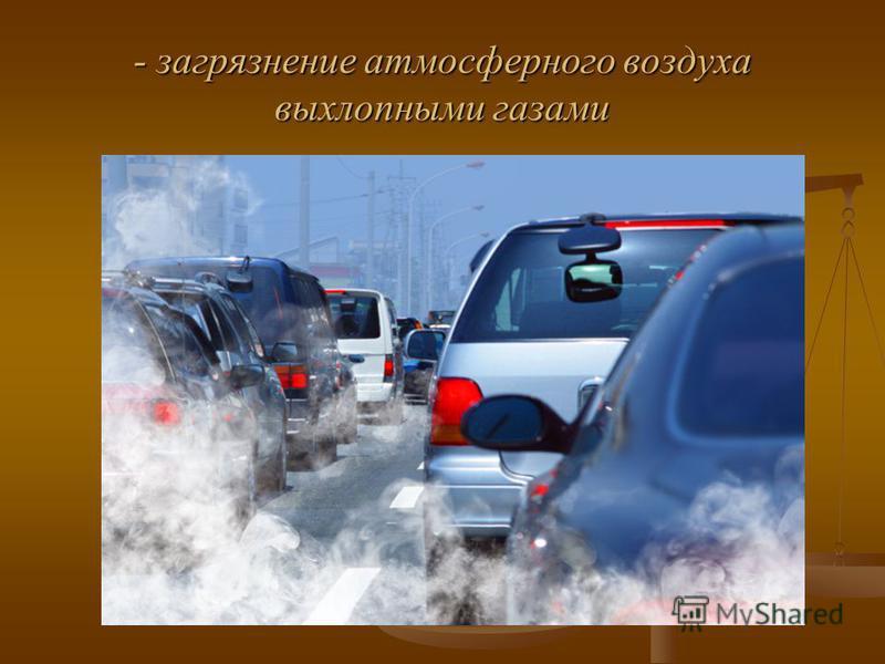 - загрязнение атмосферного воздуха выхлопными газами