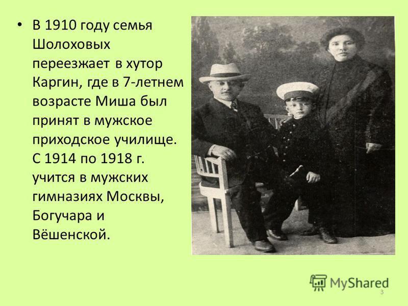В 1910 году семья Шолоховых переезжает в хутор Каргин, где в 7-летнем возрасте Миша был принят в мужское приходское училище. С 1914 по 1918 г. учится в мужских гимназиях Москвы, Богучара и Вёшенской. 3