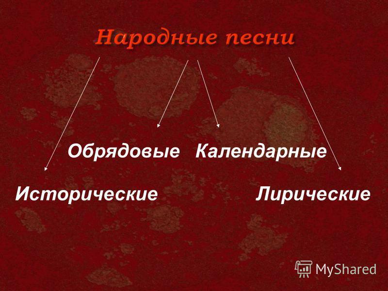 Исторические Лирические Календарные Обрядовые