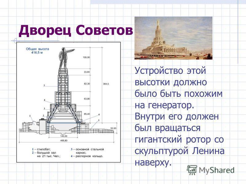 Дворец Советов Устройство этой высотки должно было быть похожим на генератор. Внутри его должен был вращаться гигантский ротор со скульптурой Ленина наверху.