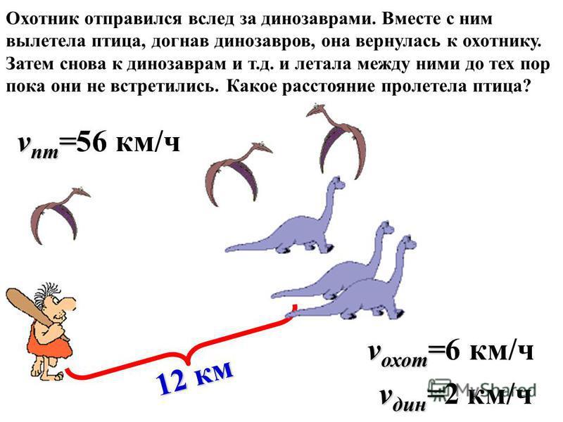 Охотник отправился вслед за динозаврами. Вместе с ним вылетела птица, догнав динозавров, она вернулась к охотнику. Затем снова к динозаврам и т.д. и летала между ними до тех пор пока они не встретились. Какое расстояние пролетела птица? 12 км v охот