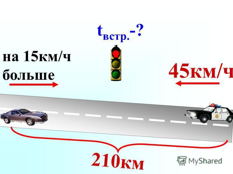 45 км/ч на 15 км/ч больше 210 км t встр. -?