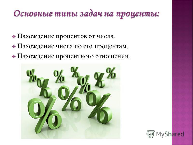 Основные типы задач на проценты: Нахождение процентов от числа. Нахождение числа по его процентам. Нахождение процентного отношения.