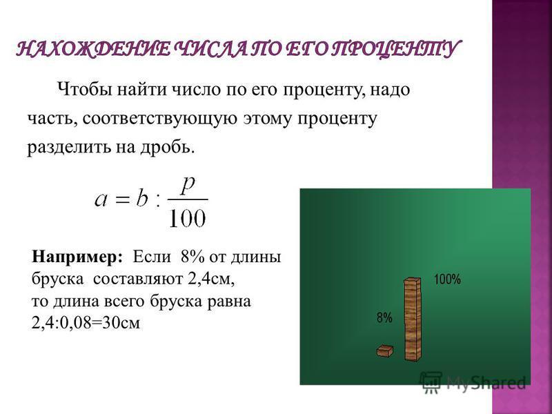 Чтобы найти число по его проценту, надо часть, соответствующую этому проценту разделить на дробь. Например: Если 8% от длины бруска составляют 2,4 см, то длина всего бруска равна 2,4:0,08=30 см