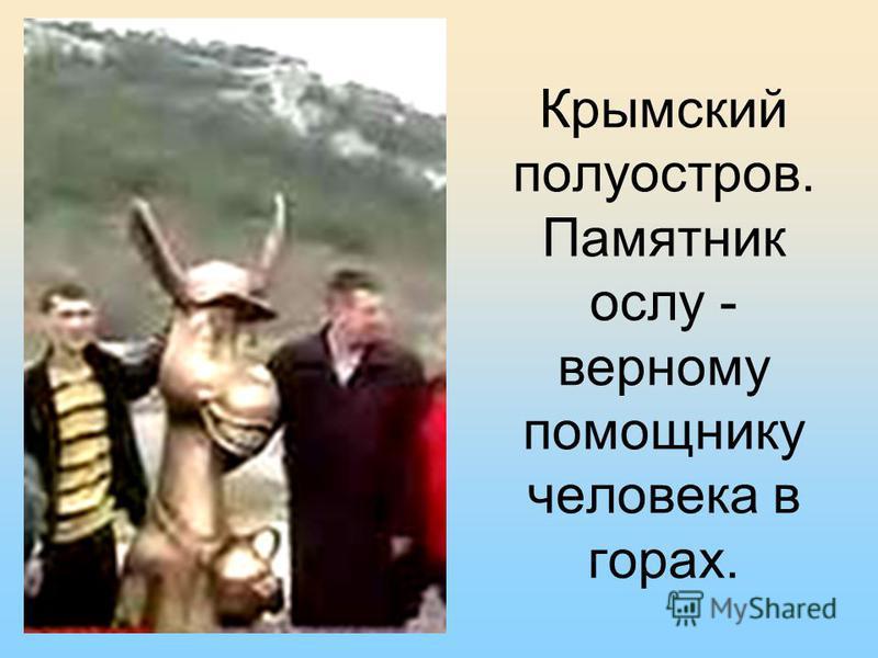 Крымский полуостров. Памятник ослу - верному помощнику человека в горах.