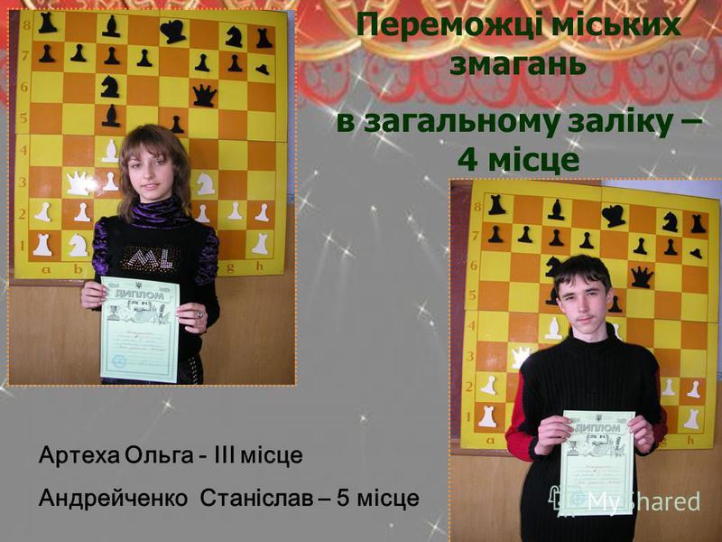 Переможці міських змагань в загальному заліку – 4 місце Артеха Ольга - ІІІ місце Андрейченко Станіслав – 5 місце