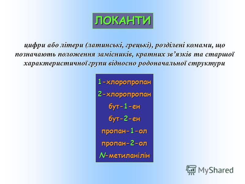 ЛОКАНТИ 1-хлоропропан 2-хлоропропан бут-1-ен бут-2-ен пропан-1-ол пропан-2-ол N-метиланілін цифри або літери (латинські, грецькі), розділені комами, що позначають положення замісників, кратних звязків та старшої характеристичної групи відносно родона