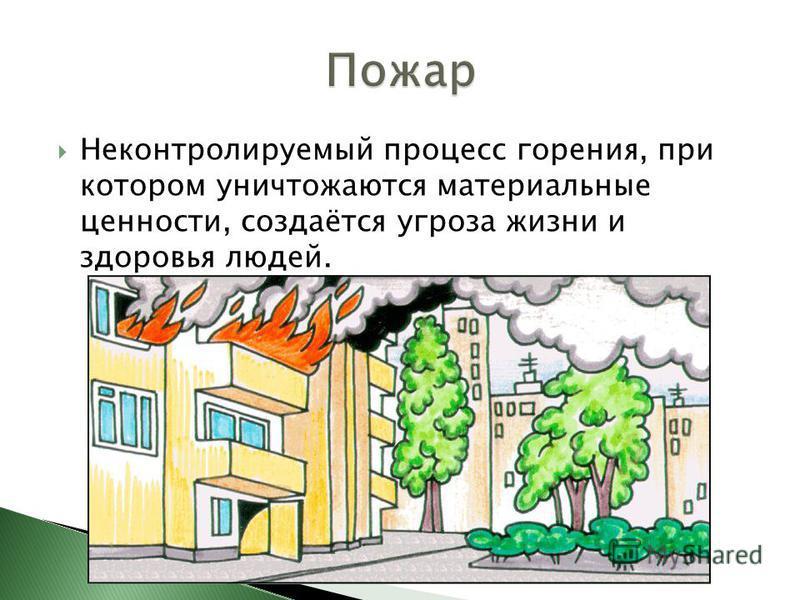 Неконтролируемый процесс горения, при котором уничтожаются материальные ценности, создаётся угроза жизни и здоровья людей.