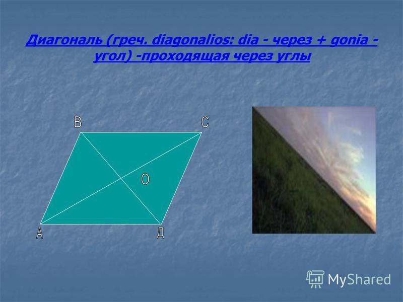 Диагональ (греч. diagonalios: dia - через + gonia - угол) -проходящая через углы