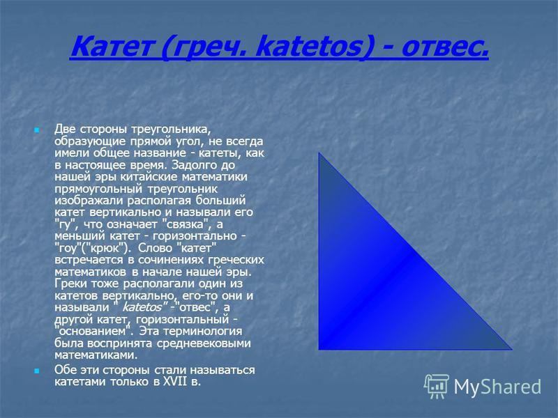 Катет (греч. katetos) - отвес. Две стороны треугольника, образующие прямой угол, не всегда имели общее название - катеты, как в настоящее время. Задолго до нашей эры китайские математики прямоугольный треугольник изображали располагая больший катет в