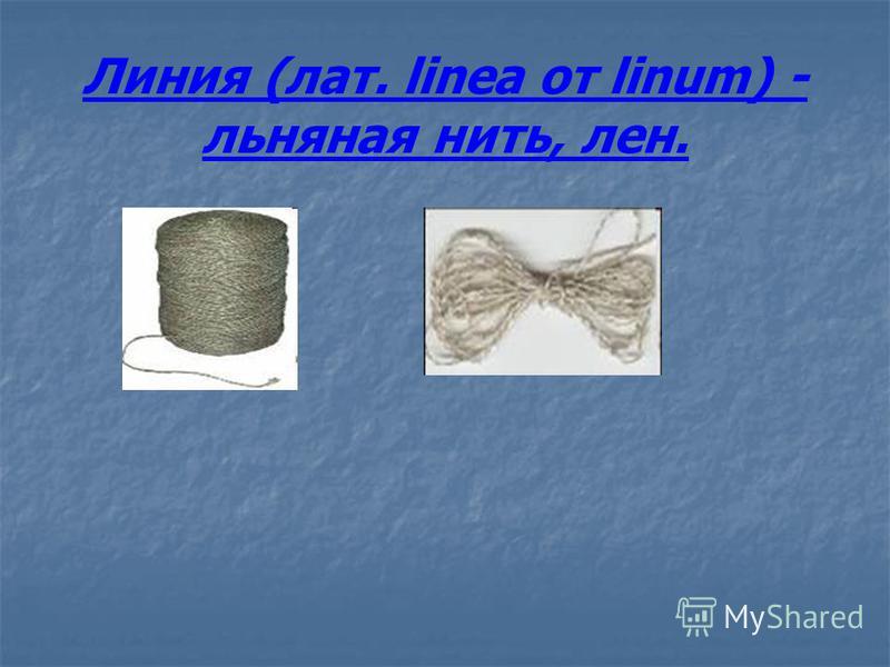 Линия (лат. linea от linum) - льняная нить, лен.