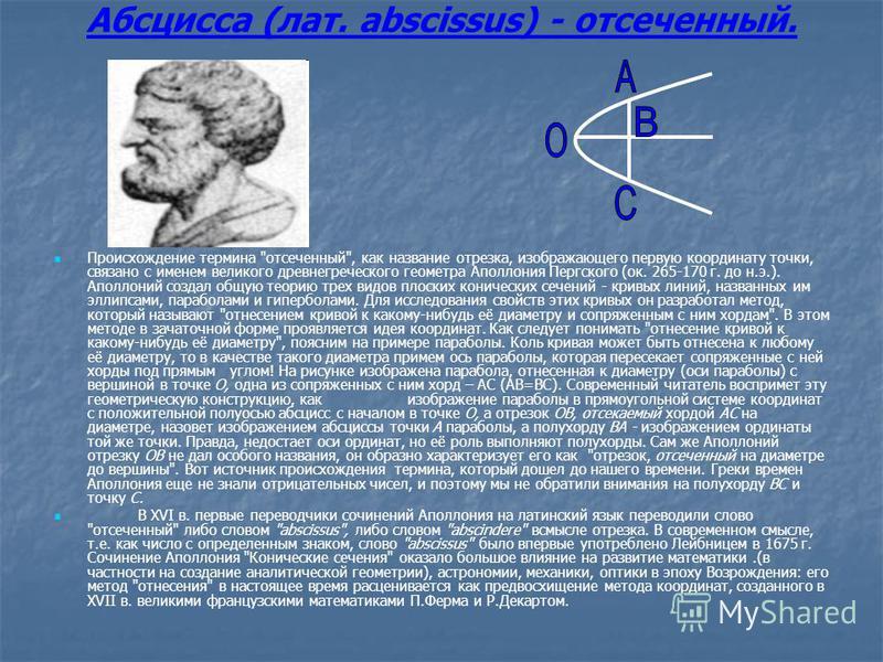Абсцисса (лат. abscissus) - отсеченный. Происхождение термина