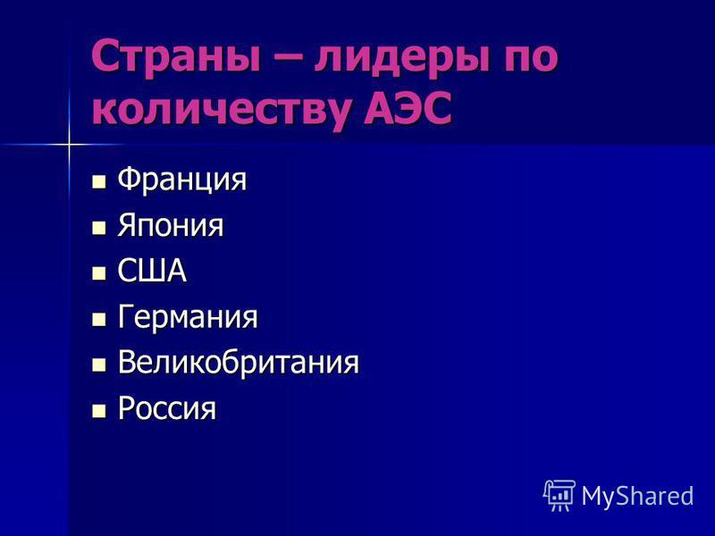 Страны – лидеры по количеству АЭС Франция Франция Япония Япония США США Германия Германия Великобритания Великобритания Россия Россия