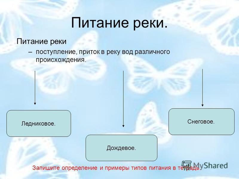 Питание реки. Питание реки –поступление, приток в реку вод различного происхождения. Ледниковое. Дождевое. Снеговое. Запишите определение и примеры типов питания в тетрадь.