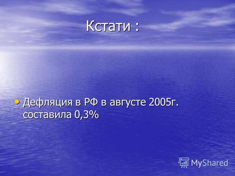 Кстати : Кстати : Дефляция в РФ в августе 2005 г. составила 0,3% Дефляция в РФ в августе 2005 г. составила 0,3%