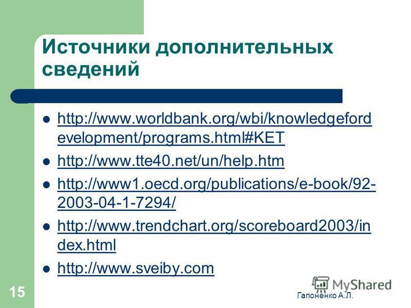 Гапоненко А.Л. 15 Источники дополнительных сведений http://www.worldbank.org/wbi/knowledgeford evelopment/programs.html#KET http://www.worldbank.org/wbi/knowledgeford evelopment/programs.html#KET http://www.tte40.net/un/help.htm http://www1.oecd.org/