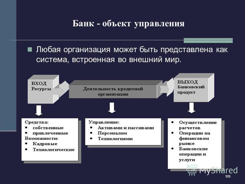 109 Банк - объект управления Любая организация может быть представлена как система, встроенная во внешний мир.
