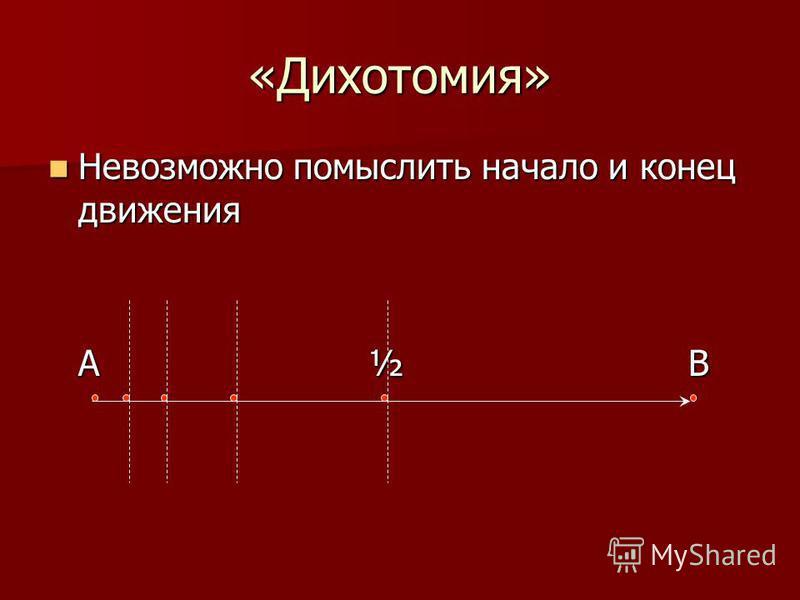«Дихотомия» Невозможно помыслить начало и конец движения Невозможно помыслить начало и конец движения А½ В