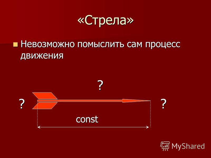 «Стрела» Невозможно помыслить сам процесс движения Невозможно помыслить сам процесс движения? ?? ??const