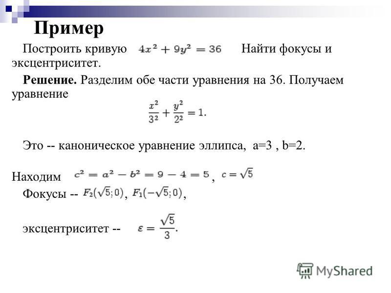 Пример Построить кривую Найти фокусы и эксцентриситет. Решение. Разделим обе части уравнения на 36. Получаем уравнение Это -- каноническое уравнение эллипса, а=3, b=2. Находим, Фокусы --,, эксцентриситет --