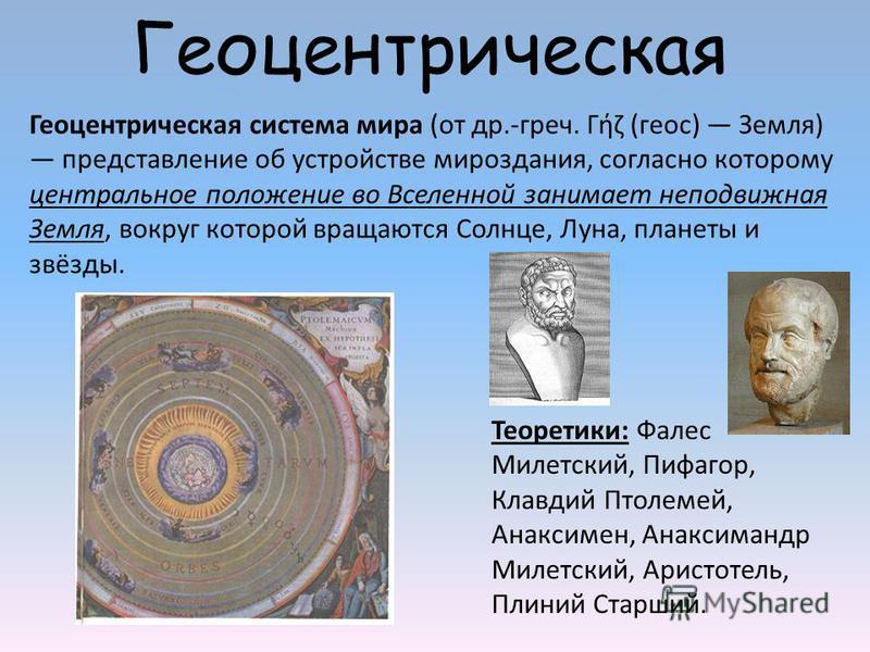 Геоцентрическая Геоцентрическая система мира (от др.-греч. Γήζ (геос) Земля) представление об устройстве мироздания, согласно которому центральное положение во Вселенной занимает неподвижная Земля, вокруг которой вращаются Солнце, Луна, планеты и звё