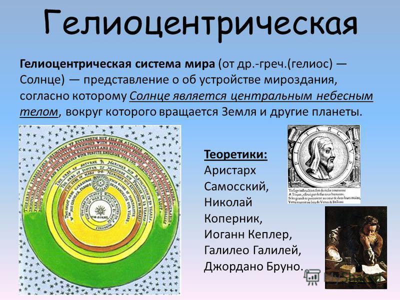 Гелиоцентрическая Гелиоцентрическая система мира (от др.-греч.(гелиос) Солнце) представление о об устройстве мироздания, согласно которому Солнце является центральным небесным телом, вокруг которого вращается Земля и другие планеты. Теоретики: Ариста