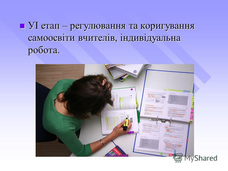 УІ етап – регулювання та коригування самоосвіти вчителів, індивідуальна робота. УІ етап – регулювання та коригування самоосвіти вчителів, індивідуальна робота.