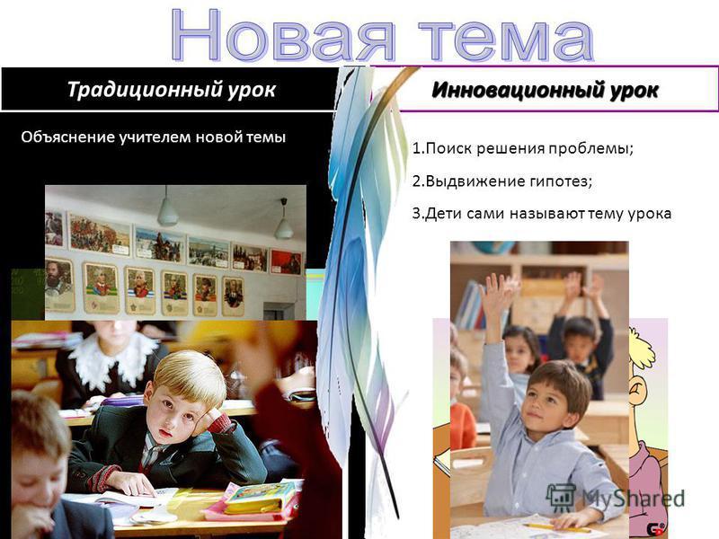 Объяснение учителем новой темы 1. Поиск решения проблемы; 2. Выдвижение гипотез; 3. Дети сами называют тему урока Традиционный урок Инновационный урок