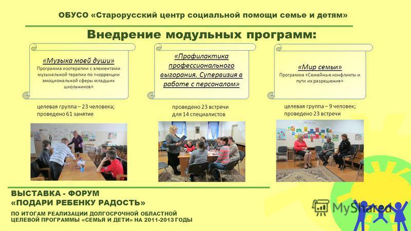 ПО ИТОГАМ РЕАЛИЗАЦИИ ДОЛГОСРОЧНОЙ ОБЛАСТНОЙ ЦЕЛЕВОЙ ПРОГРАММЫ «СЕМЬЯ И ДЕТИ» НА 2011-2013 ГОДЫ ВЫСТАВКА - ФОРУМ «ПОДАРИ РЕБЕНКУ РАДОСТЬ» ОБУСО «Старорусский центр социальной помощи семье и детям» Внедрение модульных программ: «Музыка моей души» Прогр