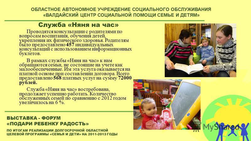 ПО ИТОГАМ РЕАЛИЗАЦИИ ДОЛГОСРОЧНОЙ ОБЛАСТНОЙ ЦЕЛЕВОЙ ПРОГРАММЫ «СЕМЬЯ И ДЕТИ» НА 2011-2013 ГОДЫ ВЫСТАВКА - ФОРУМ «ПОДАРИ РЕБЕНКУ РАДОСТЬ» ОБЛАСТНОЕ АВТОНОМНОЕ УЧРЕЖДЕНИЕ СОЦИАЛЬНОГО ОБСЛУЖИВАНИЯ «ВАЛДАЙСКИЙ ЦЕНТР СОЦИАЛЬНОЙ ПОМОЩИ СЕМЬЕ И ДЕТЯМ» Служб
