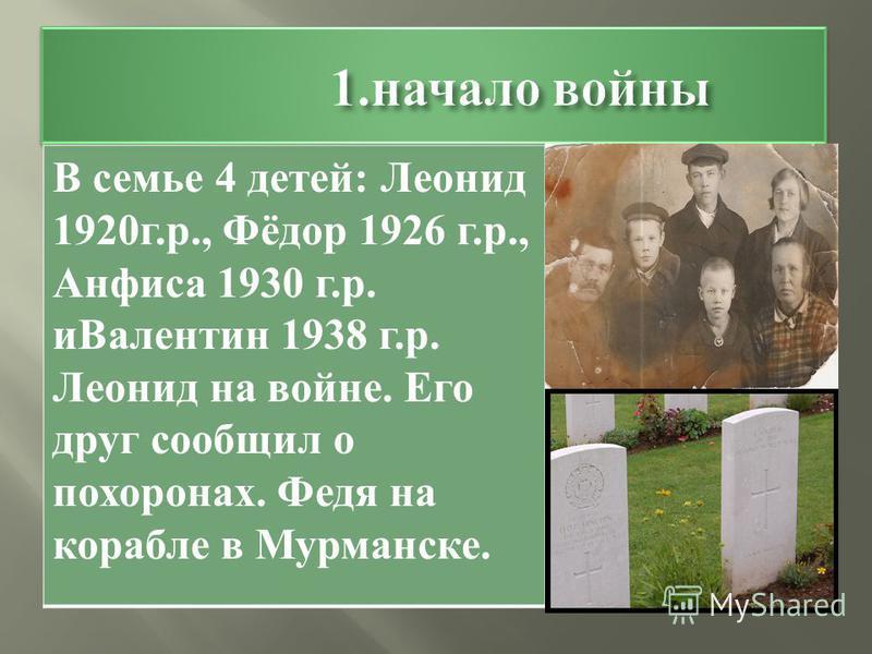 В семье 4 детей : Леонид 1920 г. р., Фёдор 1926 г. р., Анфиса 1930 г. р. и Валентин 1938 г. р. Леонид на войне. Его друг сообщил о похоронах. Федя на корабле в Мурманске.