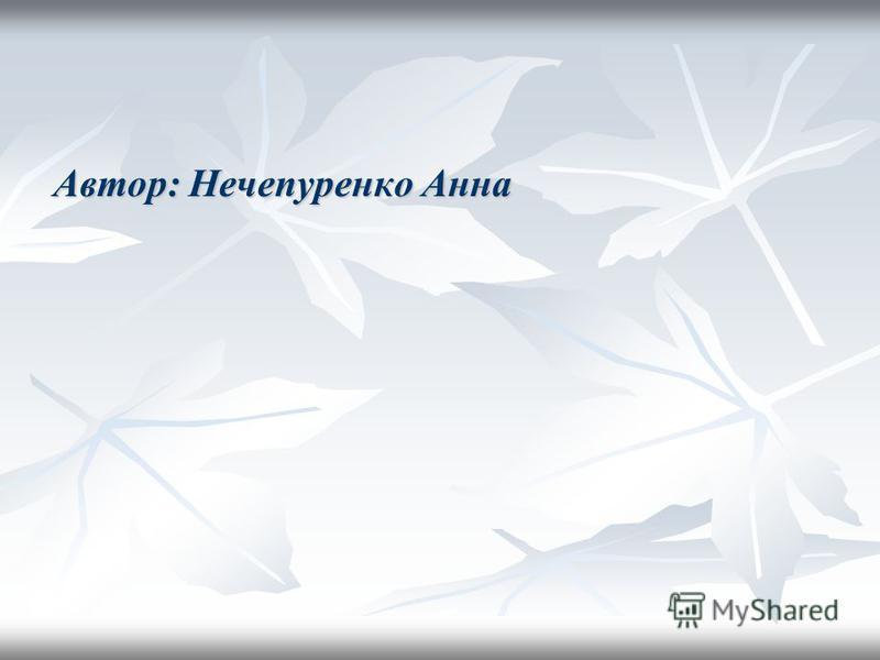 Автор: Нечепуренко Анна