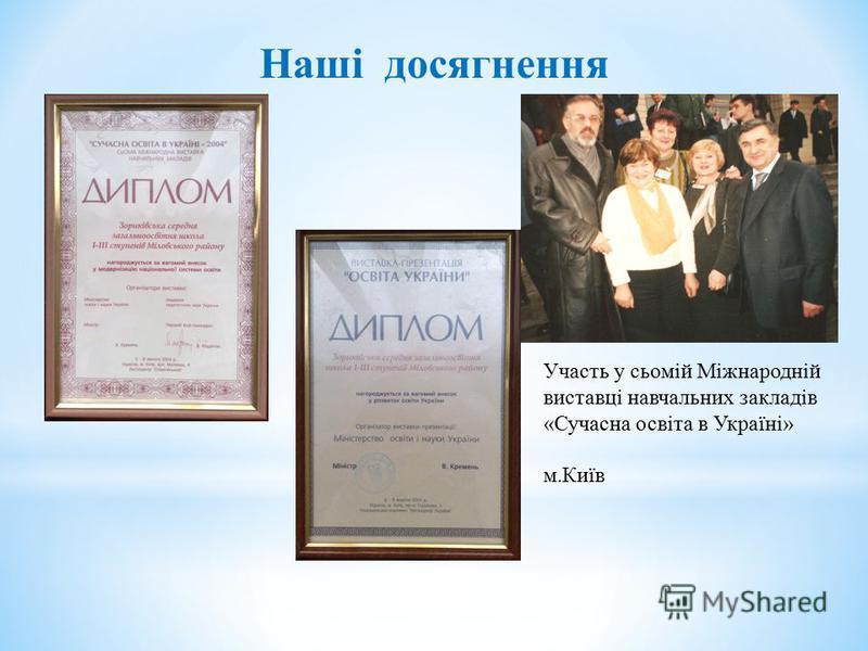 Наші досягнення Участь у сьомій Міжнародній виставці навчальних закладів «Сучасна освіта в Україні» м.Київ