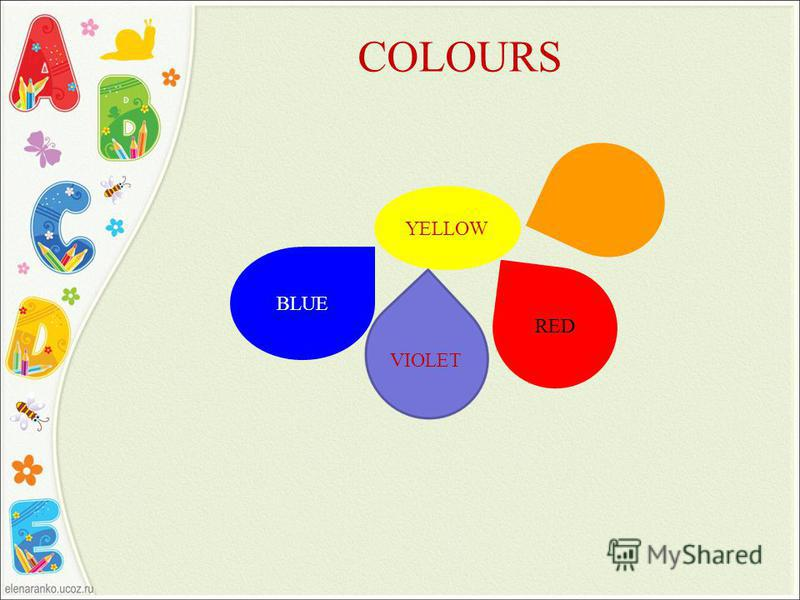 COLOURS YELLOW BLUE VIOLET RED