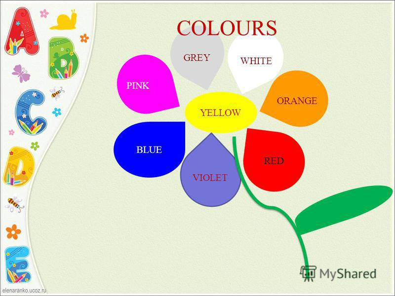 YELLOW BLUE VIOLET RED COLOURS ORANGE WHITE GREY PINK
