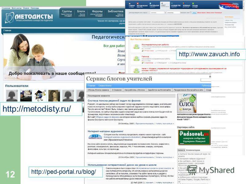 12 http://metodisty.ru/ http://www.zavuch.info http://ped-portal.ru/blog/
