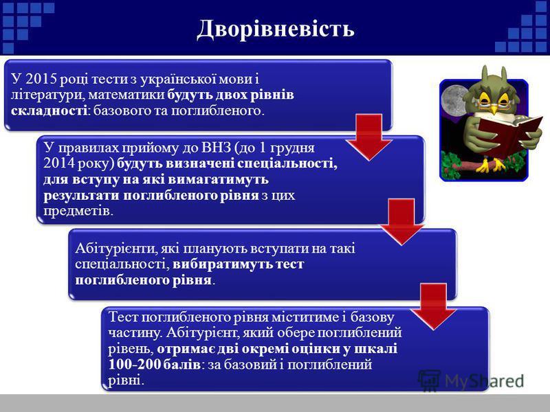 Дворівневість У 2015 році тести з української мови і літератури, математики будуть двох рівнів складності: базового та поглибленого. У правилах прийому до ВНЗ (до 1 грудня 2014 року) будуть визначені спеціальності, для вступу на які вимагатимуть резу