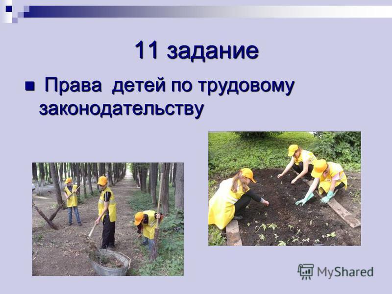 11 задание Права детей по трудовому законодательству Права детей по трудовому законодательству