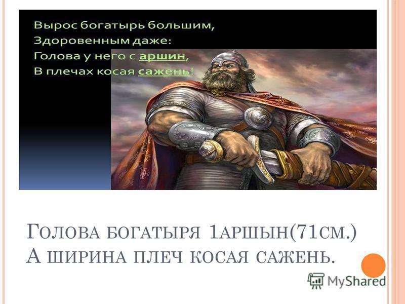 Г ОЛОВА БОГАТЫРЯ 1 АРШЫН (71 СМ.) А ШИРИНА ПЛЕЧ КОСАЯ САЖЕНЬ.