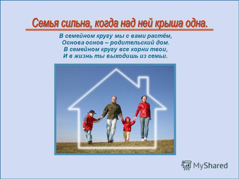В семейном кругу мы с вами растём, Основа основ – родительский дом. В семейном кругу все корни твои, И в жизнь ты выходишь из семьи.